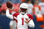 Arizona Cardinals quarterback Kyler Murray (1) warm up prior to an NFL preseason football game against the Denver Broncos, Thursday, Aug. 29, 2019, in Denver. (AP Photo/David Zalubowski)