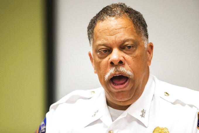 IMPD Chief Randal Taylor speaks at a news conference regarding the FedEx shooting Wednesday, July 28, 2021, in Indianapolis. (Lukas Flippo/The Indianapolis Star via AP)