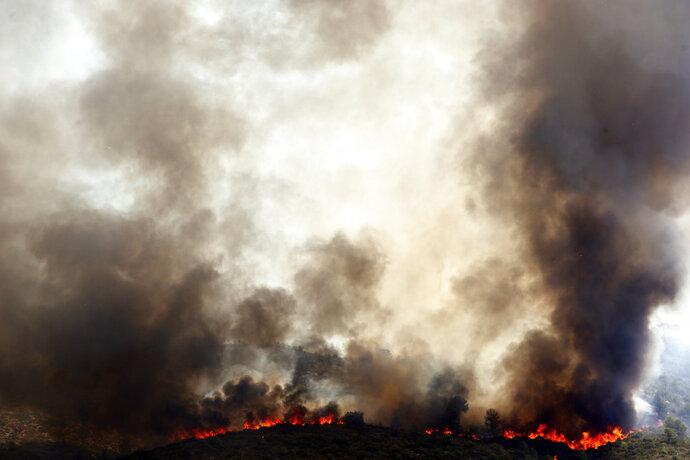 Spanish firefighters try to extinguish a wildfire in Pinet village, near Valencia Tuesday, Aug. 7, 2018. Spanish firefighters are still working to bring under control a forest blaze near Valencia. (AP Photo/Alberto Saiz)