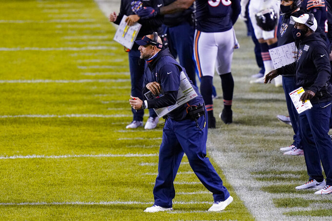 Chicago Bears coach Matt Nagy yells from the sideline during the first half of the team's NFL football game against the Tampa Bay Buccaneers in Chicago, Thursday, Oct. 8, 2020. (AP Photo/Nam Y. Huh)