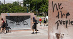 People look over graffiti left on the Colorado Veterans Memorial in Denver, Sunday, May 31, 2020, over the death of George Floyd who died after being restrained by Minneapolis police officers on May 25.(AP Photo/David Zalubowski)