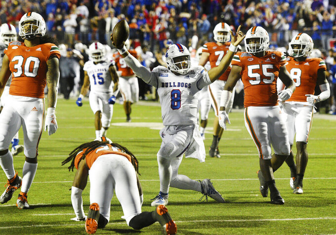 Louisiana Tech's J'Mar Smith (8) reacts during the NCAA college football Independence Bowl against Miami, Thursday, Dec. 26, 2019, at Independence Stadium in Shreveport, La. (Henriette Wildsmith/The Shreveport Times via AP)