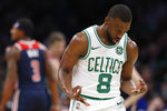 Boston Celtics' Kemba Walker gestures after hitting a 3-point basket against the Washington Wizards during the fourth quarter of an NBA basketball game Wednesday, Nov. 13, 2019, in Boston. (AP Photo/Winslow Townson)