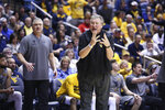 West Virginia coach Bob Huggins reacts during the first half of an NCAA college basketball game against Baylor Saturday, March 7, 2020, in Morgantown, W.Va. (AP Photo/Kathleen Batten)