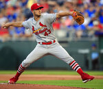 St. Louis Cardinals starting pitcher Dakota Hudson delivers to a Kansas City Royals batter during the first inning of a baseball game at Kauffman Stadium in Kansas City, Mo., Wednesday, Aug. 14, 2019. (AP Photo/Orlin Wagner)