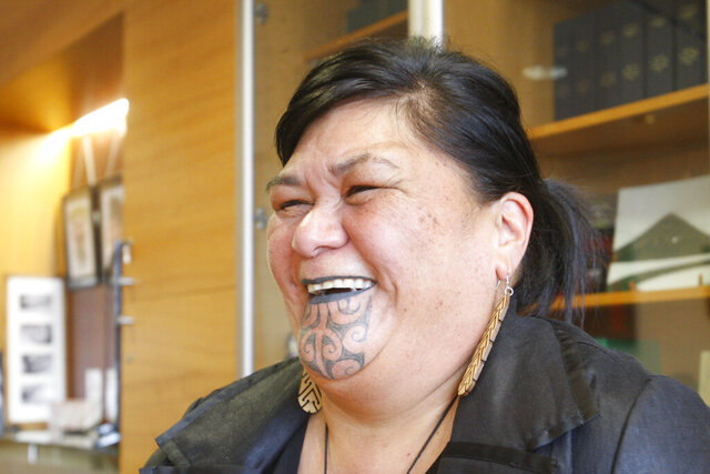 New Zealand's Foreign Minister Nanaia Mahuta speaks during an interview in her office Wednesday, Nov. 25, 2020, in Wellington, New Zealand. Mahutu is the first Indigenous Maori woman to be appointed foreign minister in New Zealand, and promises to bring a new perspective to the role. (AP Photo/Nick Perry)