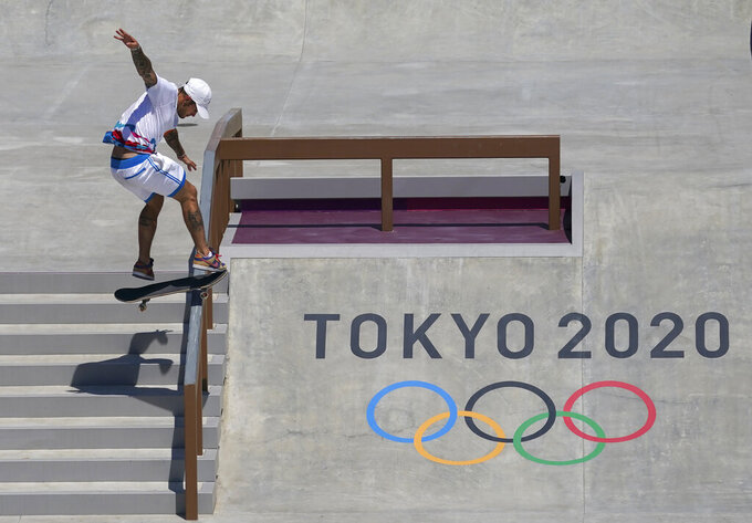 Aurelien Giraud, of France, competes in men's street skateboarding during the Tokyo Olympics in Tokyo on Sunday, July 25, 2021. (Nathan Denette/The Canadian Press via AP)
