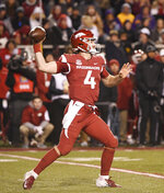 Arkansas quarterback Ty Storey drops back to pass against LSU during the second half of an NCAA college football game, Saturday, Nov. 10, 2018, in Fayetteville, Ark. LSU won, 24-17. (AP Photo/Michael Woods)
