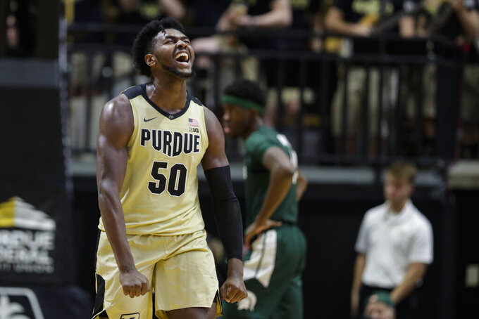 Purdue forward Trevion Williams (50) celebrates during the second half of an NCAA college basketball game against Michigan State in West Lafayette, Ind., Sunday, Jan. 12, 2020. (AP Photo/Michael Conroy)