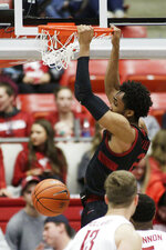 Stanford guard Bryce Wills (2) dunks during the second half of an NCAA college basketball game against Washington State in Pullman, Wash., Sunday, Feb. 23, 2020. Stanford won 75-57. (AP Photo/Young Kwak)