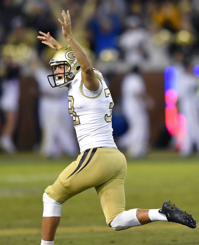 Georgia Tech kicker Wesley Wells (38) celebrates a field goal kick against Virginia late in the second half of an NCAA football game, Saturday, Nov. 17, 2018, in Atlanta. (AP Photo/Mike Stewart)
