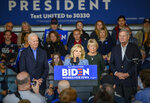 FILE - In this Nov. 23, 2019, file photo, Jill Biden speaks at an event where former Iowa Governor and Secretary of Agriculture Tom Vilsack and his wife Christie Vilsack , right, endorsed Democratic presidential candidate former Vice President Joe Biden, left, in Des Moines, Iowa. Few states have changed politically with the head-snapping speed of Iowa. (AP Photo/Justin Hayworth, File)