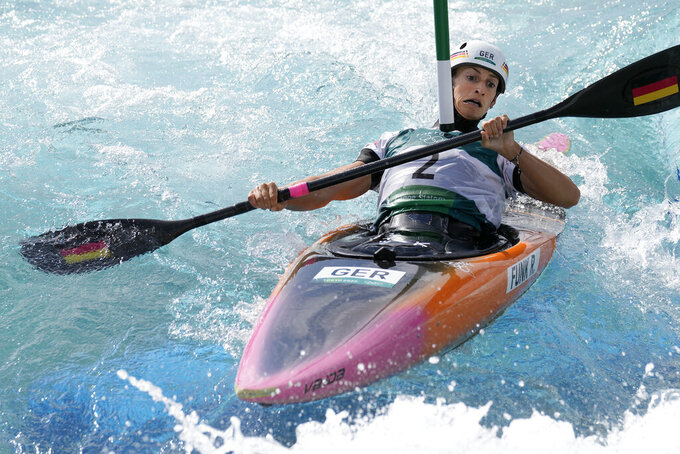 Ricarda Funk of Germany competes in the Women's K1 of the Canoe Slalom at the 2020 Summer Olympics, Tuesday, July 27, 2021, in Tokyo, Japan. (AP Photo/Kirsty Wigglesworth)