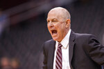 Mississippi State head coach Ben Howland reacts during the first half of the Never Forget Tribute Classic NCAA college basketball game against Kansas State, Saturday, Dec. 14, 2019, in Newark, N.J. (AP Photo/Corey Sipkin)