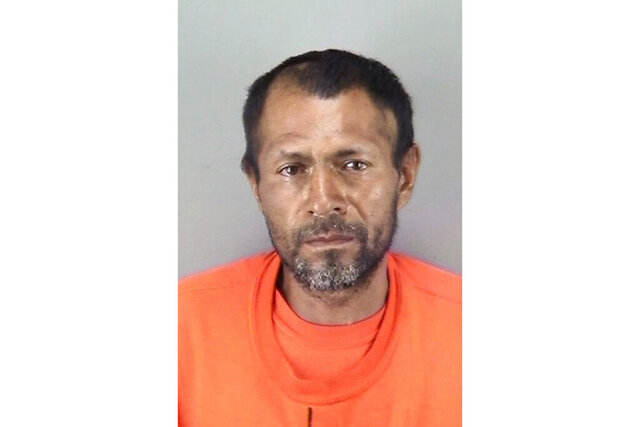 FILE - This undated file booking photo provided by the San Francisco Police Department shows Jose Ines Garcia Zarate, a homeless undocumented immigrant who was acquitted of killing Kate Steinle on a San Francisco pier in 2015. A federal judge is delaying a trial on gun possession charges against the Mexican national who was acquitted in the killing of a woman on a San Francisco pier in a case that became a national immigration flashpoint, saying he has questions about the man's mental competency. (San Francisco Police Department via AP, File)