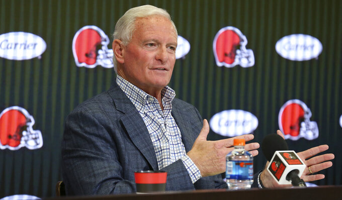 Cleveland Browns owner Jimmy Haslam addresses the media on the recent changes in the organization's coach and general manager positions, Thursday, Jan. 2, 2020, in Berea, Ohio. The Browns kicked off their latest quest to find a coach, and also a general manager, by interviewing former Packers coach Mike McCarthy. (John Kuntz/cleveland.com  via AP)