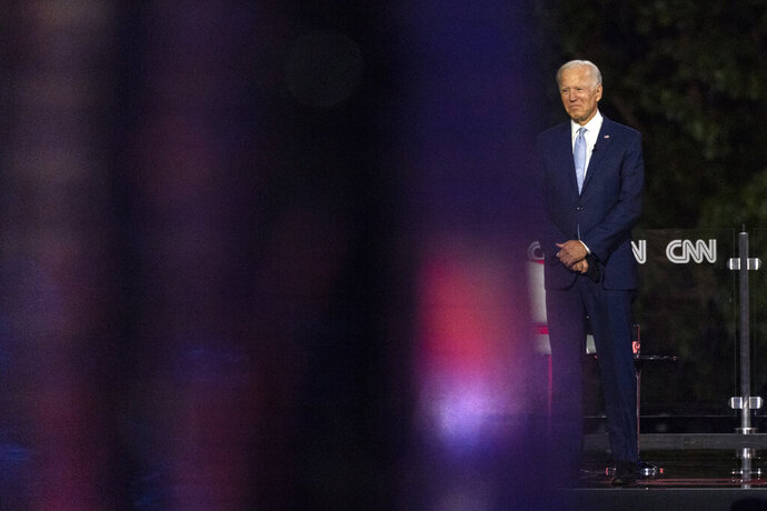 Democratic presidential candidate former Vice President Joe Biden pauses on stage during a CNN town hall in Moosic, Pa., Thursday, Sept. 17, 2020. (AP Photo/Carolyn Kaster)