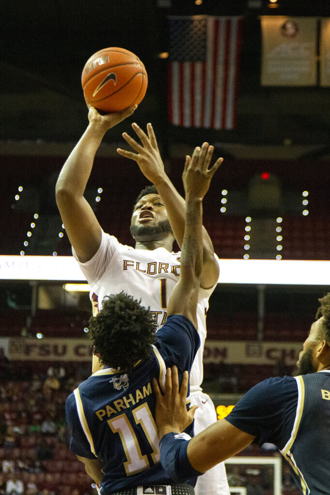 Florida State forward RaiQuan Gray (1) shoots over Georgia Tech in the second half of an NCAA college basketball game in Tallahassee, Fla., Tuesday, Dec. 31, 2019. Florida State defeated Georgia Tech 70-58. (AP Photo/Mark Wallheiser)