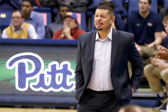 FILE - In this Dec. 3, 2018, file photo, Pittsburgh head coach Jeff Capel watches as his team plays against Niagara during the second half of an NCAA college basketball game in Pittsburgh. So far, in his first-year at Pitt, Capel has brought renewed energy to the program. The real challenge, however, begins on Saturday as the Panthers open ACC play against North Carolina.(AP Photo/Keith Srakocic, File)