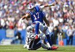 New England Patriots linebacker Kyle Van Noy tackles Buffalo Bills quarterback Josh Allen (17) as he scrambles in the first half of an NFL football game, Sunday, Sept. 29, 2019, in Orchard Park, N.Y. (AP Photo/Adrian Kraus)