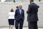 Attorney General Merrick Garland visits a memorial for fallen Alcohol, Tobacco and Firearms (ATF) agents after visiting the ATF headquarters in Washington, Thursday, July, 22 2021. (Jim Lo Scalzo/Pool via AP)