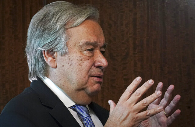United Nations Secretary-General António Guterres speaks during an interview, Wednesday Oct. 21, 2020, at U.N. headquarters. (AP Photo/Bebeto Matthews)