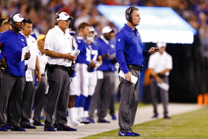 New York Giants coach Pat Shurmur watches his team play during the first half of a preseason NFL football game against the New York Jets on Thursday, Aug. 8, 2019, in East Rutherford, N.J. (AP Photo/Michael Owens)