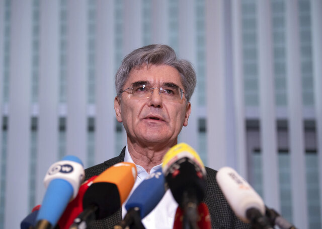 Joe Kaeser, CEO of Siemens, addresses the media during a statement in Berlin, Germany, Friday. Jan. 10, 2020. Kaeser met German representatives of the Fridays-for-Future movement and said the company takes the activists' concerns seriously. (Soeren Stache/dpa via AP)