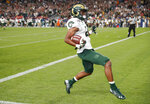 Colorado State wide receiver Dante Wright runs into the end zone for a touchdown against Colorado during the second quarter of an NCAA college football game Friday, Aug. 30, 2019, in Denver. (AP Photo/David Zalubowski)
