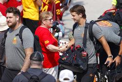 Iowa State quarterback Brock Purdy (15) greets fans along the spirit walk before an NCAA college football game against Iowa, Saturday, Sept. 11, 2021, in Ames, Iowa. (AP Photo/Matthew Putney)