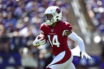 Arizona Cardinals wide receiver Damiere Byrd rushes the ball in the first half of an NFL football game against the Baltimore Ravens, Sunday, Sept. 15, 2019, in Baltimore. (AP Photo/Gail Burton)