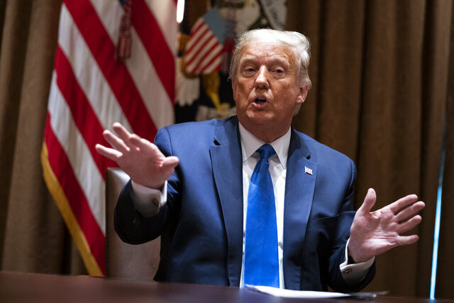 President Donald Trump speaks during a meeting with Republican state attorneys general about social media companies, in the Cabinet Room of the White House, Wednesday, Sept. 23, 2020, in Washington. (AP Photo/Evan Vucci)