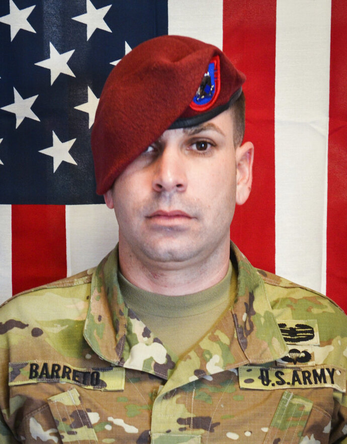 This image provided by the U.S. Army shows Sgt. 1st Class Elis A. Barreto Ortiz, 34, from Morovis, Puerto Rico. The Defense Department says Barreto was killed in action on Sept. 5, 2019, when the explosive device detonated near his vehicle in Kabul, Afghanistan. (U.S. Army via AP)