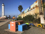 In Tijuana, the Mexican side of a cross-border garden, is located in a popular recreational area on the Pacific Ocean, Saturday, Jan. 25, 2020. The U.S. Border Patrol, reacting to a breach it discovered in a steel-pole border wall believed to be used by smugglers, gave activists no warning this month when it bulldozed the U.S. side of the cross-border garden on an iconic bluff overlooking the Pacific Ocean. On Saturday, after a public apology for