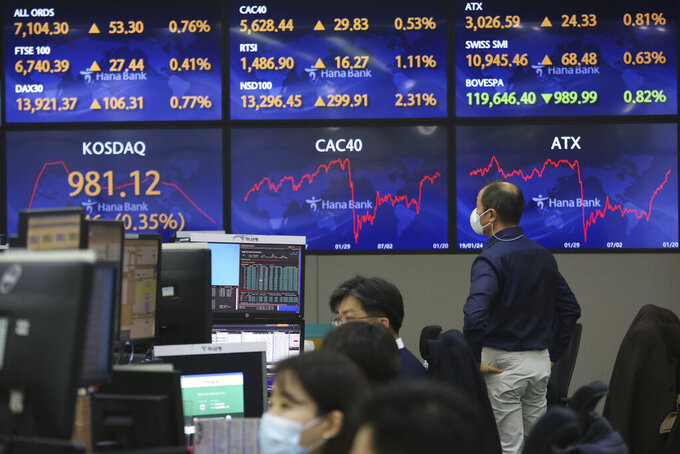 A currency trader watches the screens showing the foreign exchange rates at the foreign exchange dealing room of the KEB Hana Bank headquarters in Seoul, South Korea, Thursday, Jan. 21, 2021. Asian shares rose Thursday on optimism over the new U.S. administration that earlier set off a rally on Wall Street. (AP Photo/Ahn Young-joon)
