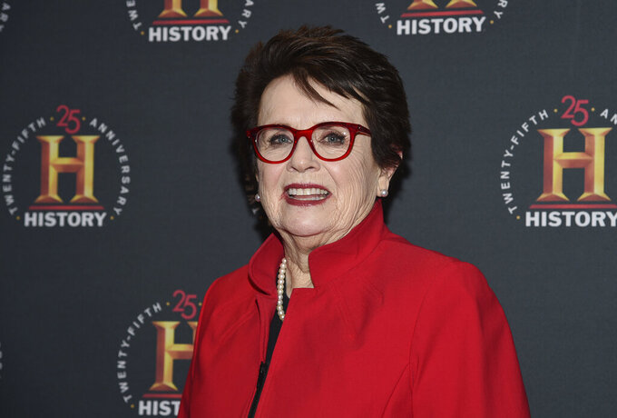 """FILE - In this Feb. 29, 2020, file photo, Billie Jean King attends A+E Network's """"HISTORYTalks: Leadership and Legacy"""" at Carnegie Hall in New York. King saw Roger Federer's tweets suggesting that the men's and women's professional tennis tours unify. """"I went, 'This can happen! This can happen!'"""" she said. """"The time's right."""" (Photo by Evan Agostini/Invision/AP, File)"""