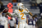 Tennessee quarterback Jarrett Guarantano throws a pass during the first half of the team's NCAA college football game against Auburn on Saturday, Nov. 21, 2020, in Auburn, Ala. (AP Photo/Butch Dill)