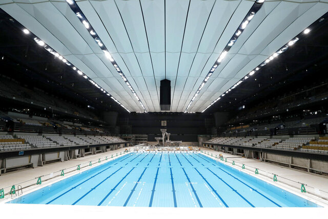 In this Nov. 21, 2019, photo, Tokyo Aquatics Center, a venue for swimming and diving at the Tokyo 2020 Summer Olympics, is seen in Tokyo. (Yukie Nishizawa/Kyodo News via AP)