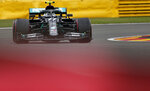 Mercedes driver Valtteri Bottas of Finland steers his car during the first practice session prior to the Formula One Grand Prix at the Spa-Francorchamps racetrack in Spa, Belgium Friday, Aug. 28, 2020. (Stephanie Lecocq, Pool via AP)