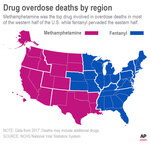 Map shows meth and fentanyl drug overdose deaths by region in 2017; 2c x 3 1/2 inches; 96.3 mm x 88 mm;