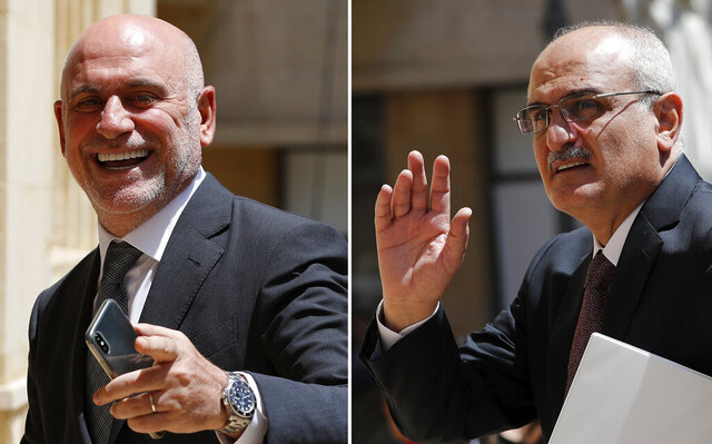A combo picture shows Lebanese Public Works and Transportation Minister Youssef Fenianos entering parliament in Beirut, Lebanon, May 23, 2018, left, and Lebanese former Finance Minister Ali Hassan Khalil arriving at the parliament, in Beirut, Lebanon, July 16, 2019. The U.S. Treasury on Tuesday, Sept. 8, 2020 sanctioned Fenianos, a senior member of the Christian Marada Movement that is allied with Hezbollah and the Syrian government, and Khalil, currently a member of the Lebanese Parliament, saying they