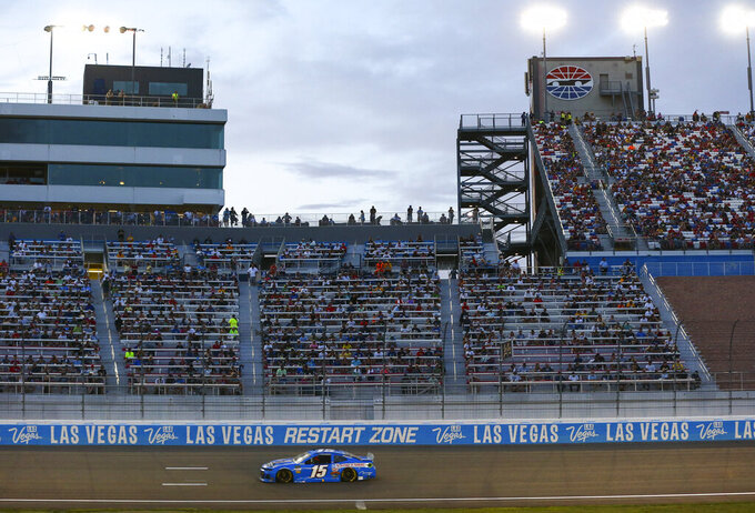 Ross Chastain (15) drives during a NASCAR Cup Series auto race at the Las Vegas Motor Speedway on Sunday, Sept. 15, 2019. (AP Photo/Chase Stevens)