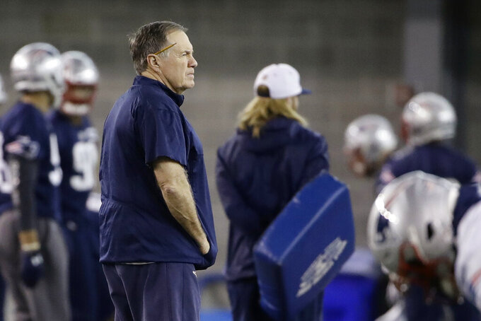 New England Patriots head coach Bill Belichick walks field during NFL football practice, Friday, Feb. 1, 2019, in Atlanta, as the team prepares for Super Bowl 53 against the Los Angeles Rams. (AP Photo/Matt Rourke)