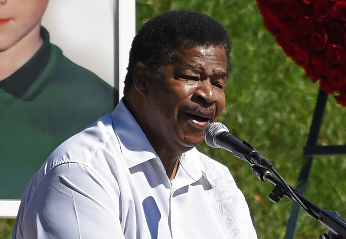 FILE - In this Oct. 8, 2017 file photo, singer Jerry Lawson performs the song