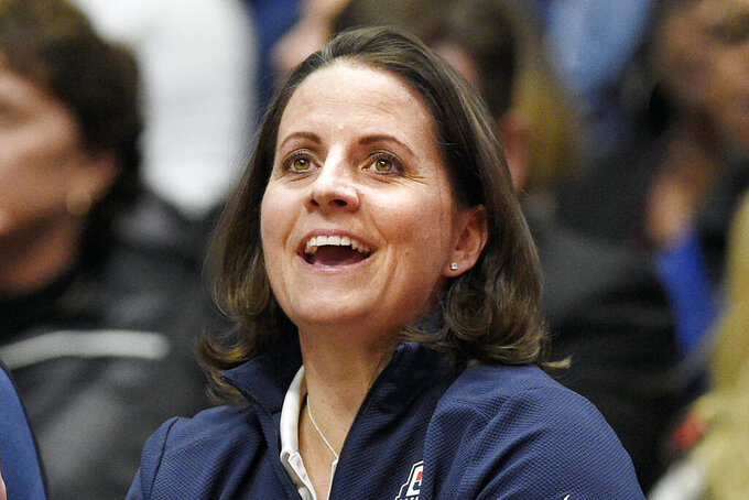 FILE - United States' assistant coach Jennifer Rizzotti watches during the second half of an exhibition basketball game in Hartford, Conn., in this Monday, Jan. 27, 2020, file photo. Rizzotti, who was the point guard on UConn's first national championship team before playing professionally and then embarking on a career as a college basketball coach, has been named president of the WNBA's Connecticut Sun, the team announced Tuesday, April 20, 2021. (AP Photo/Jessica Hill, File)