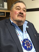 Standing Rock Sioux Tribal Chairman Mike Faith poses for a photo Wednesday, Nov. 13, 2019 in Linton, North Dakota. Faith says doubling the capacity of the Dakota Access pipeline increases the