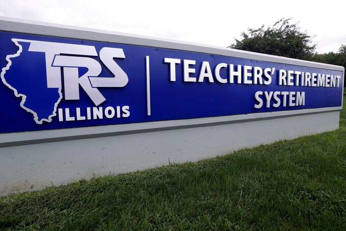 This Friday, Aug. 26, 2016 file photo shows a sign for the Illinois Teachers Retirement System   in Springfield, Ill. In a report released on Tuesday, Sept. 14, 2021, the Pew Charitable Trust found that the four states with the most endangered pension systems — Illinois, Kentucky, New Jersey and Pennsylvania — have been ramping up contributions even faster, averaging annual growth of 16%. (AP Photo/Seth Perlman, File)
