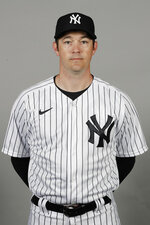 This Feb. 20, 2020, photo shows Matt Blake of the New York Yankees baseball team. This image reflects the Yankees active roster as of when this image was taken. Yankees pitching coach Blake anticipates a brimming bullpen when and if opening day comes around this year. Major League Baseball and the players' association have talked about a compressed schedule to get in as many games as possible in a season delayed by the new coronavirus pandemic. (AP Photo/Frank Franklin II, File)