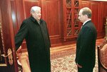 FILE In this file photo taken on Friday, Dec. 31, 1999, Former President Boris Yeltsin smiles as he talks to the then Russian acting President and Premier Vladimir Putin, in the Kremlin, Russia. Russian President Vladimir Putin prepares to mark his 20th year in power, as the longest-serving leader since Joseph Stalin.  (Sputnik, Kremlin Pool Photo via AP, File)
