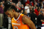 Tennessee guard Jalen Johnson heads off the court after the team's NCAA college basketball game against Georgia on Wednesday, Jan. 15, 2020, in Athens, Ga. (Joshua L. Jones/Athens Banner-Herald via AP)